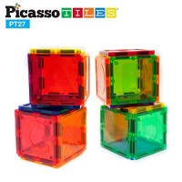 PicassoTiles PT27 Magnetic Building Blocks 27 Piece Alphabet Toy Set Magnet Tiles Construction Toys 3D Clear Color Stacking Block STEM Playboard Learning By Playing Creativity Beyond Imagination