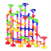 Gifts2U Marble Run Toy 130Pcs Educational Construction Maze Block Toy Set with Glass Marbles for Kids and Parent-Child Game