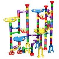 Magicfly Marble Run Set 127 Pcs Race Track for Kids with Glass Marbles Upgrade Works