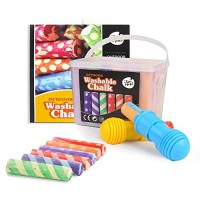 Jar Melo Washable Chalk- 24 Colors; Sidewalk Jumbo Crayon Chalk; Outdoor Fun;Dust Free; Dotted Chalk with Holder