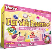 Playz Fun with Fragrance Perfume Making Science Kit for Kids - 13+ STEM Experiments & DIY Activities to Learn the Chemistry Behind Perfumes 36 Page Lab Guide 27+ Tools and Ingredients Girls