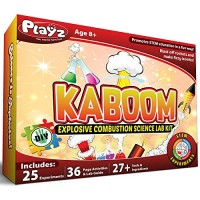 Playz Kaboom Explosive Combustion Science Lab Kit - 25+ STEM Experiments DIY Make Your Own Rockets Helium Balloons Fizzy Bombs Color Explosions and More with Fun Chemical Reactions