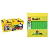 LEGO Classic Medium Creative Brick Box 10696 with Green Baseplate Supplement Bundle