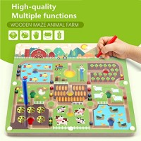 Elloapic Pen Leading Maze Puzzle Interactive Beads on Board Game Eduactional Handcraft Toys-Square - Great Farmer in his Farm