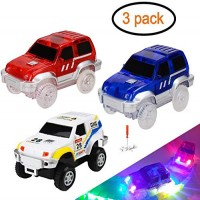 Track Cars Light Up Toy Car Track (3-Pack)Compatible with Magic Tracks Glow in the