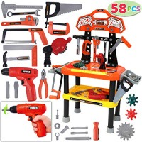 78 Pieces Kids Workbench with Realistic Tools and Electric Drill for Construction Workshop Tool Bench STEM Educational Play Pretend Birthday Gifts Building Set by JOYIN