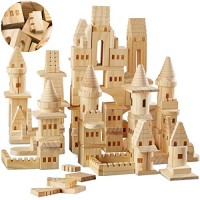{150 Piece Set} Wooden Castle Building Blocks Set FAO SCHWARZ Toy Solid Pine Wood Block Playset Kit for Kids Toddlers Boys and Girls Fantasy Medieval Knights Princesses with Bridges Arches