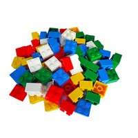 Hobby Monsters 100 Building Bricks 2 x Assorted Colors Compatible with All Major Brands - Great STEM Resource