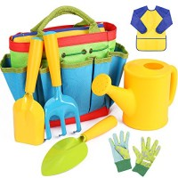 INNOCHEER Kids Gardening Tools 7 Piece Garden tool set for Kids with Watering Can