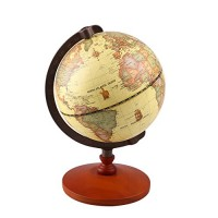 TTKTK Mini Vintage World Globe Antique Decorative Desktop Rotating Earth Geography Wooden Base Educational Wedding Gift with Magnifying Glass