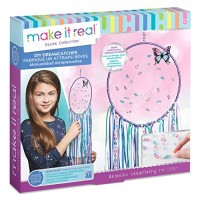 Make It Real - DIY Dreamcatcher Your Own Dream Catcher Arts and Crafts Kit for Tween Girls Includes Hoop Strings Ribbons Beads Butterfly Pin More