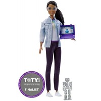 Barbie Doll Robotics Engineer - 2018 Career of the Year Brown Hair Eyes African American Includes Pretend Robot and Computer