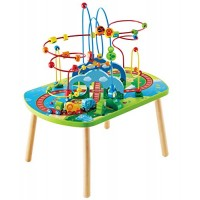 Hape Jungle Adventure Railway Table Kids Bead Maze Puzzle with Accessories African Scene Graphics Child Sized for Individual and Group Play