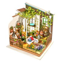 Hands Craft DG108 DIY 3D Wooden Miniature Dollhouse Build Your own Crafting Kit with Real LED Lights Educational STEM Hobby Project for Kids 14 and Adults Miller's Garden