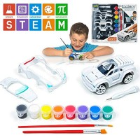 Modarri Delux Paint It Auto Design Studio and Build Your own Toy Car Creative STEM Art Craft Kit Includes Paints Brushes Make Model Cars Girls Boys Gifts Age 5-10