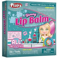 Playz Yummy Lip Balm Makeup Arts & Craft Kit to Create Fruity Lipstick Shimmering Balms Solar Screens Using Science Experiments for Girls Teens Teenagers Kids Ages 8+