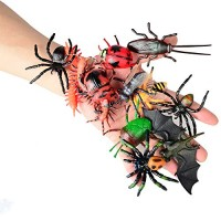 12pcs Bugs Insects Realistic Models Kids - Children Biology Science STEM Toys Gift Bees Bats Centipede Flies Cockroaches SpiderDung Beetles Ladybug etc