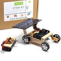 Pica Toys Wooden Solar and Wireless Remote Control Car Robotics Creative Engineering Circuit Science Stem Building Kit - Hybird Power for Electric Motor DIY Experiment Kids Teens Adults