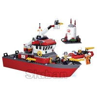 Sluban Fire Rescue Boat - 405 Pieces in Box 100% Compatible Construction Building Brick Educational Toy M38-B0630