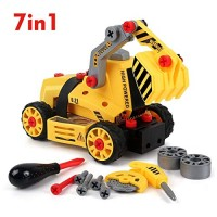 BeebeeRun 7-in-1 DIY Take Apart Truck Car Toys for 3 4 5 6 7 Year Old Boys Girls Construction Engineering STEM Learning Building Play Set Kids Children