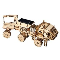 ROBOTIME 3D Assemble Puzzle Removable Solar Power Toy Wooden STEM Project Craft Kits Best Birthday Gifts for Teend and Adults Hermes Rover