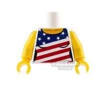 firestartoyscom Custom Design Minifigure Torso - American Flag Star & Stripes Ladies Top