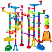 Marble Run Sets for Kids - 142Pcs Race Track Maze Madness Game STEM Building Tower Toy 4 5 6 + Year Old Boys Girls 113 Pcs 25 Glass Marbles Led Lighted Marbles