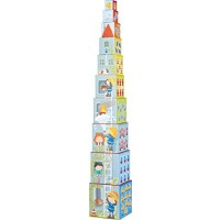 HABA Fire Brigade Sturdy Cardboard Nesting & Stacking Cubes - Reinforcing Numbers 1 10 with Rescue Themes on Each Side