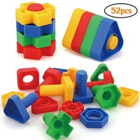 AIBELY Jumbo Nuts and Bolts Toys 52Psc for Toddlers Preschoolers Kids STEM Educational Montessori Building Construction Screw Matching Activities 345 Year Old Boy Girl