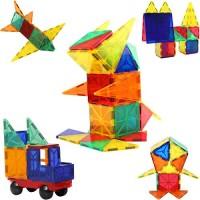 60pcs Blazing Studio Magnetic Tiles with CAR Strongest Magnets Storage Bag Sturdy Safe Construction Children's 3D STEM Toy