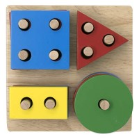 Explearn Wooden Stack and Sort Geometric Board (Multi peg/Shape) - Teach Geometric Shapes (04) - Motor Skills - Early Learning / Educational Toy for Kids