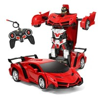 1 18 Model RC Car Remote Control Transforming Robot Transformer Toys Transform One Button Transforms into RobotRC Toy for Kids