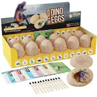 Dig a Dozen Dino Eggs Kit - Easter Egg Toys for Kids Break Open 12 Unique Large Surprise Dinosaur Filled and Discover Cute Dinosaurs Archaeology Science STEM Crafts Gifts Boys & Girls