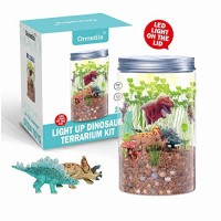Onnetila Dinosaur Fairy Garden in a Jar Light up Terrarium Kit for Kids Plant Growing Kit Grow and Glow Terrarium STEM Educational Projects Boys and Girls Crafts for Kids Age 5 6 7 8 9 Year Old