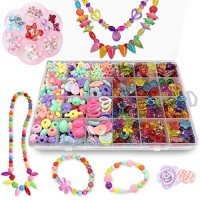 Bead Kits for Jewelry Making - Craft Beads Kids Girls Colorful Acrylic Set Crafting with Clip-on Earrings