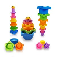 Mara's Box Rainbow Star Stacking & Nesting Cups for Toddlers 6 pcs and 1 Owl Drawstring Backpack Educational Bath Toys Boys Girls Star Stacking