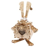 HMANE 3D Assembly Puzzle Wooden DIY Steampunk Music Box Craft Kit Robot Stem Toy for Women Men - Bunny Shape