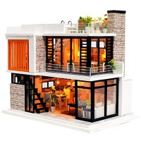 Spilay Dollhouse Miniature with FurnitureDIY Dollhouse Kit Mini Modern Villa Model with Music Box