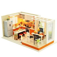 Spilay Dollhouse Miniature with FurnitureDIY Dollhouse Kit Mini Modern Kitchen Home Model with Music