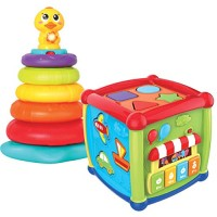 JOYIN Baby Activity Center Flashing Stack Toys with Shape Color Sorting Alphabet Cube Music Cute