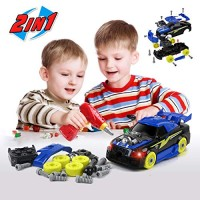 BeebeeRun 2-in-1 Take Apart Racing Car DIY Toys 26 Pieces Stem Learning Assembly with Electric Drill Tool Lights and Sounds for Kids Boys Girls