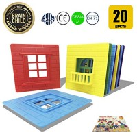 Happy Genius Accessories for Magnetic Building Blocks Toys Kids - 20 PCS No Magnet Educational Window & Balconies Pieces Block Set Children Toddlers Boys Girls STEM Toy 3 Year Olds