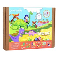 jackinthebox Dinosaur Themed Craft Kit and Educational Toy for Boys Girls 6 Activities-in-1 Great Gift Kids Aged 5 to 8 Years Old Learning Stem Toys Dinosaur 6-in-1