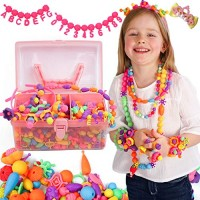 Axel Adventures Snap Pop Beads - 520+PCS Letters & Numbers Toddlers Arts Crafts Jewelry Kit for Kids DIY Gift 5 Year Old Girls-Birthday 4 6 7 8