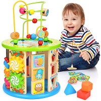 Victostar Activity Cube 10 in 1 Bead Maze Multipurpose Educational Toy Wood Shape Color Sorter for Kids