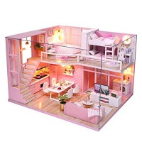 CUTEBEE Dollhouse Miniature with Furniture DIY Dollhouse Kit Plus Dust Proof and Music Movement