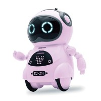 SPACE LION Educational Mini Pocket Robot for Kids Interactive Dialogue ConversationVoice Control Chat Record Singing & Dancing-Pink