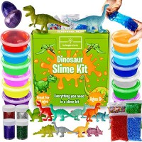 Dinosaur Slime Kit for Boys - Stretchiest Slime Kit Easy-to-Clean Fun Slime for Kids 12 Colors & Dinosaur Toys - Everything in ONE for Ultimate Premade DIY Foamy Stretchy Slime 38pc