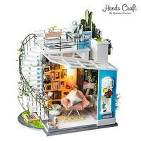 Hands Craft DIY 3D Wooden Miniature Dollhouse Build Your Own Crafting Kit with Real LED Lights Educational STEM Hobby Project for Kids 14 and Adults Dora's Loft