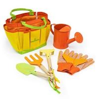 Kinderific Gardening Tool Set Designed for Kids STEM Tote Bag Spade Watering Can Rake
